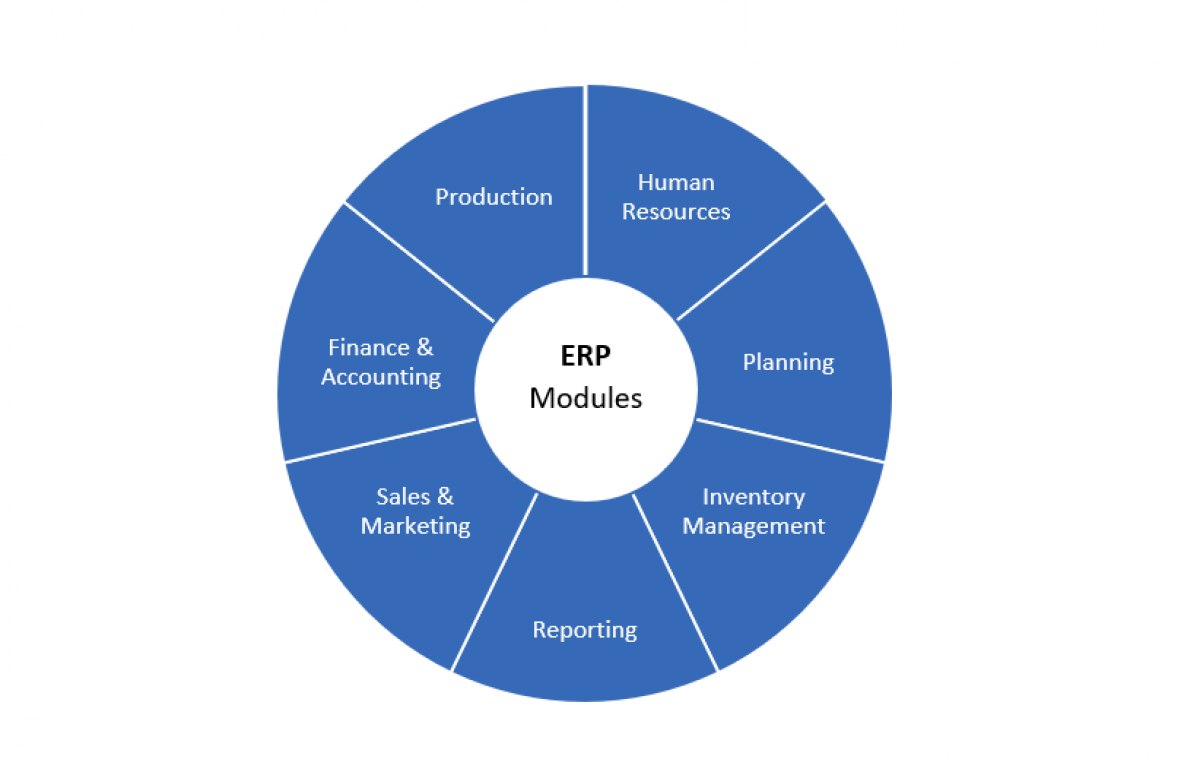 SAP ERP modules a pie chart